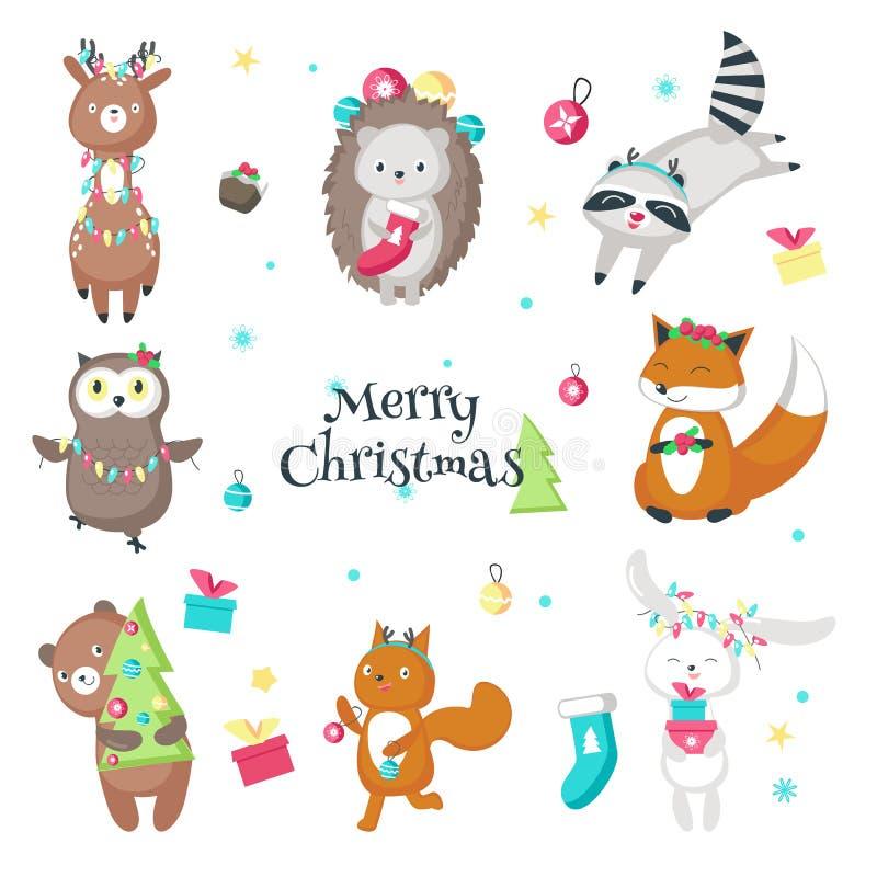 De leuke grappige geïsoleerde illustratie van Kerstmisdieren vector vector illustratie
