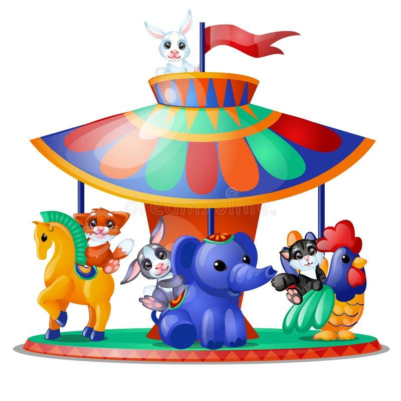 De leuke grappige geanimeerde dieren berijden de geïsoleerde carrousel op witte achtergrond Vrolijk-gaan-rond Vectorbeeldverhaalc royalty-vrije illustratie