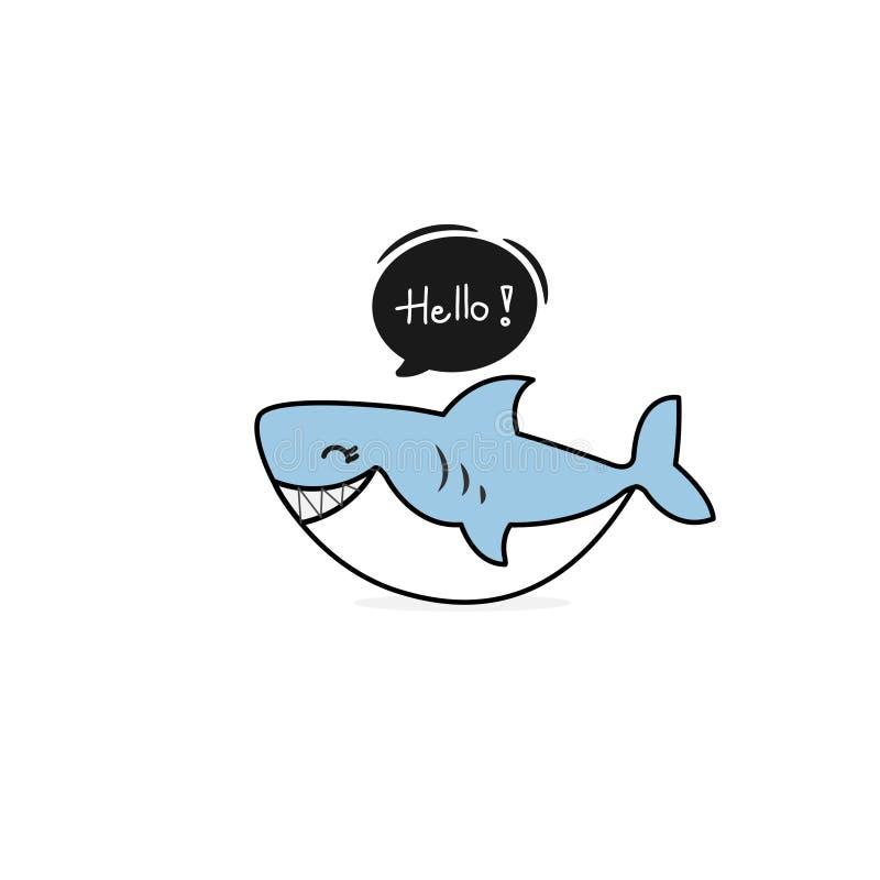 De leuke grappige haai zegt Hello Vector illustratie vector illustratie