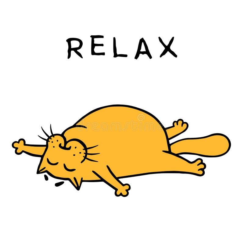 De leuke grappige oranje kat ademt in de zon Vector illustratie vector illustratie