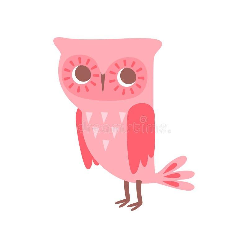 De leuke grappige van het de vogelkarakter van de beeldverhaal roze jonge uil vectorillustratie op een witte achtergrond stock illustratie