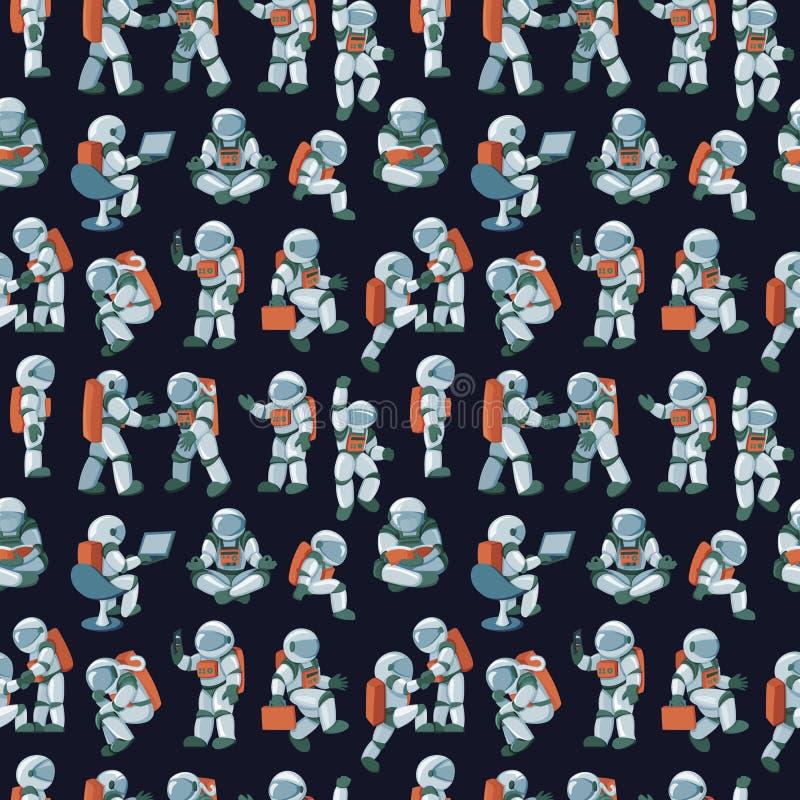 De leuke grappige van de ruimtevaarderskarakters van de kosmonautastronaut naadloze abstracte achtergrond vector illustratie
