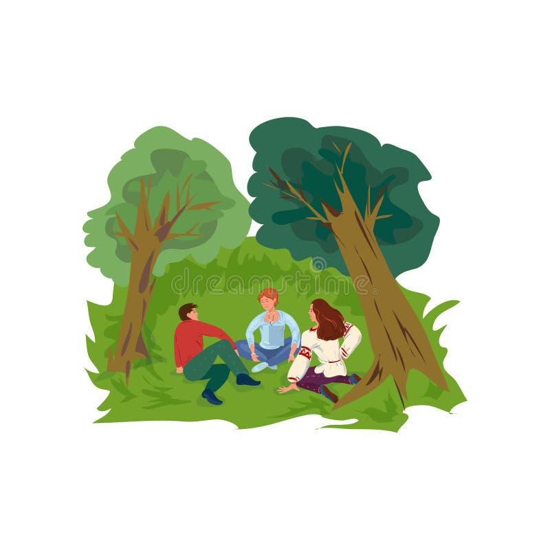 De leuke groep vrienden is rust op groen gras bij park stock illustratie