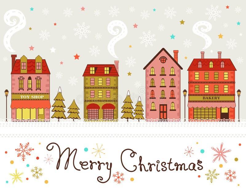 De leuke groeten van de Kerstmisstad royalty-vrije illustratie