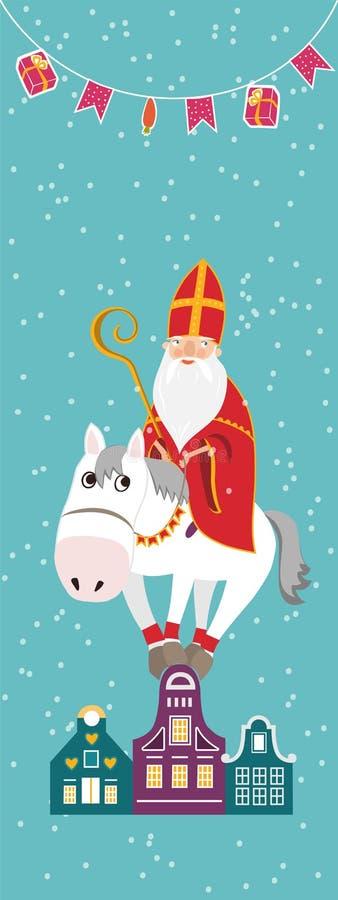 De leuke groetkaart met Heilige Nicholas Sinterklaas met bewerkt in verstek stock foto's