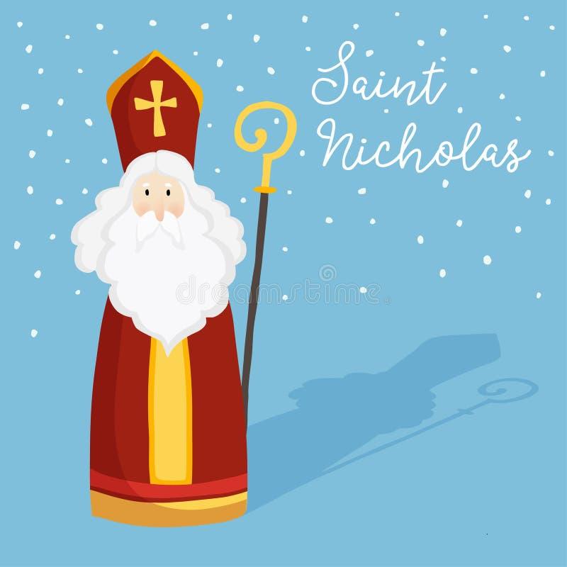 De leuke groetkaart met Sinterklaas met bewerkt, pastoraal personeel en dalende sneeuw in verstek Europese de wintertraditie Hand stock illustratie