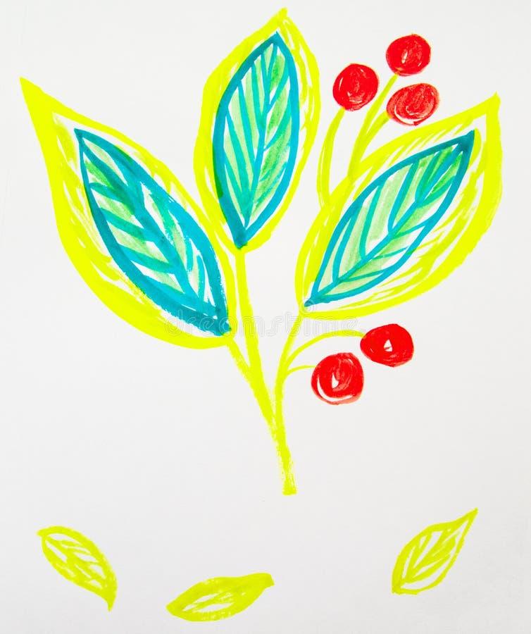 De leuke hand-Drawn stam van de waterverfbloem met bladeren en bessen Gele en groene de lentebloemen, Botanische tuininstallaties royalty-vrije stock foto's