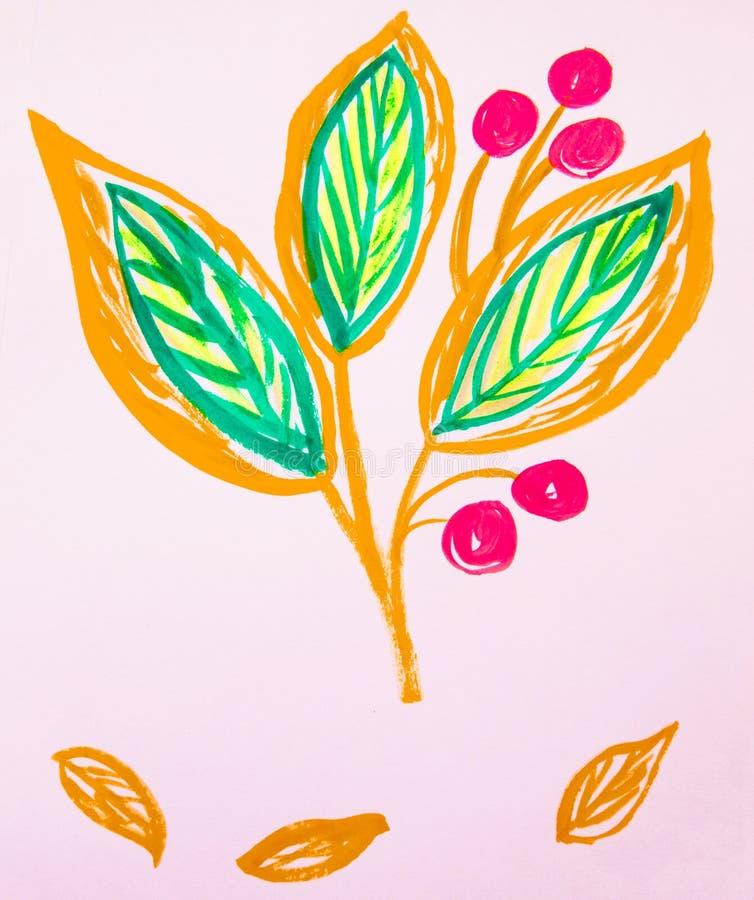 De leuke hand-Drawn stam van de waterverfbloem met bladeren en bessen Oranje en groen, de lentebloemen, Botanische tuininstallati stock fotografie