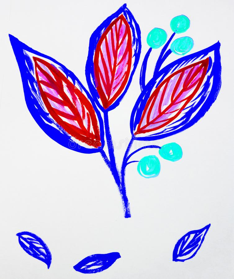 De leuke hand-Drawn stam van de waterverfbloem met bladeren en bessen Rood en purper, de lentebloemen, Botanische tuininstallatie vector illustratie