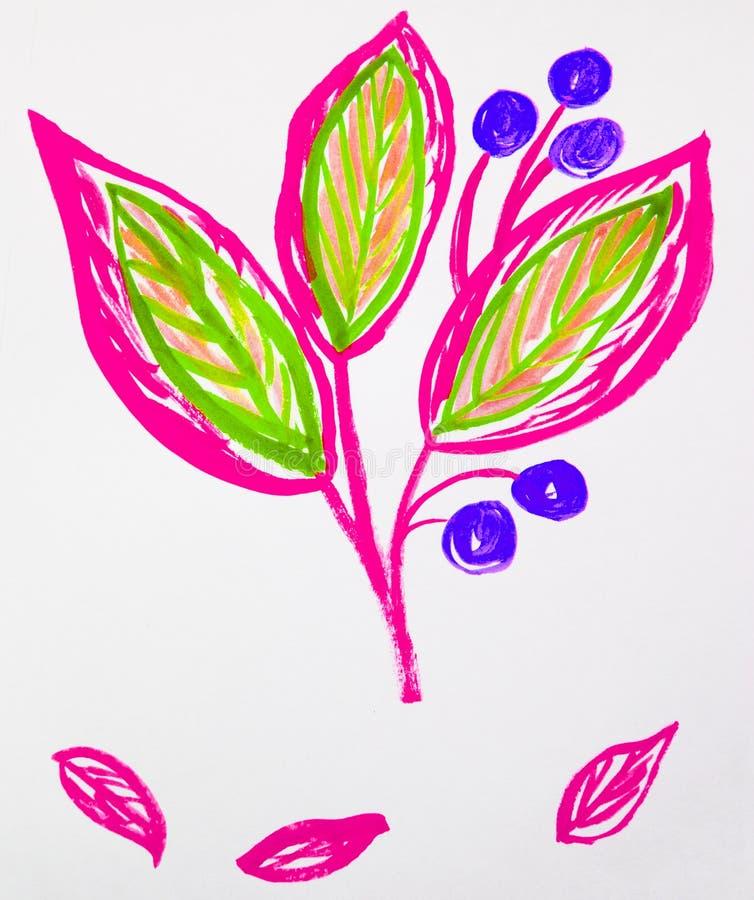 De leuke hand-Drawn stam van de waterverfbloem met bladeren en bessen Roze en groen, de lentebloemen, Botanische tuininstallaties royalty-vrije stock afbeeldingen