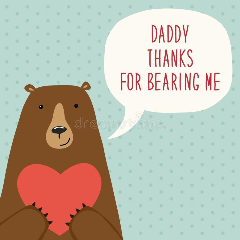 De leuke hand getrokken kaart van de Vader` s Dag als grappig beeldverhaalkarakter van beer royalty-vrije illustratie