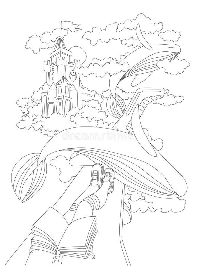 De leuke hand trekt kleurende pagina met het dromen van meisje, die met boek zitten op een vleugel van vliegtuig, seing vliegende vector illustratie