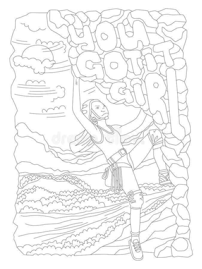 De leuke hand trekt kleurende pagina met moedig beklimmend meisje De feministische vectorillustratie van de zenkunst van sportmei vector illustratie