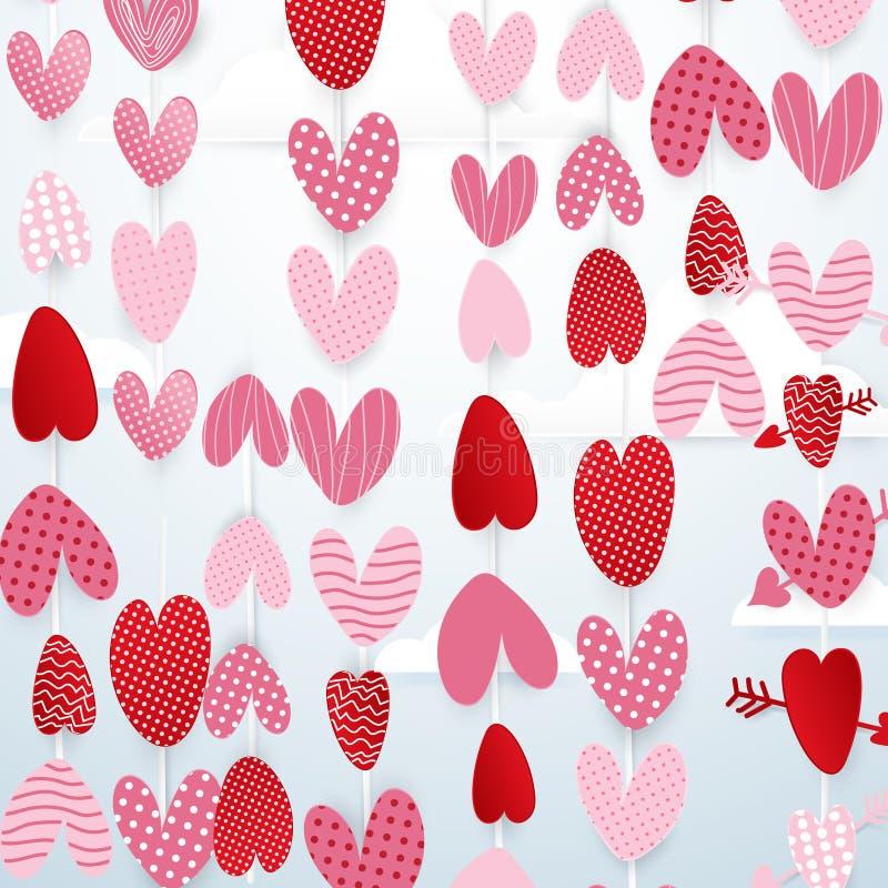 De leuke harten hangen op de achtergrond van het de dagconcept van hemelvalentijnskaarten stock illustratie