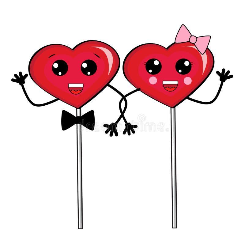 De leuke harten van het beeldverhaalsuikergoed houden de handvatten De dag van de valentijnskaart `s Kawaii Vector stock illustratie