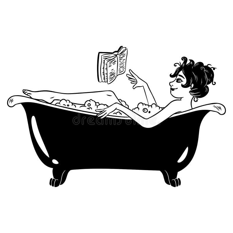 De leuke heks in speld-omhooggaande stijl neemt een bad Heks op witte achtergrond wordt ge?soleerd die Mooi karakter voor Hallowe stock illustratie