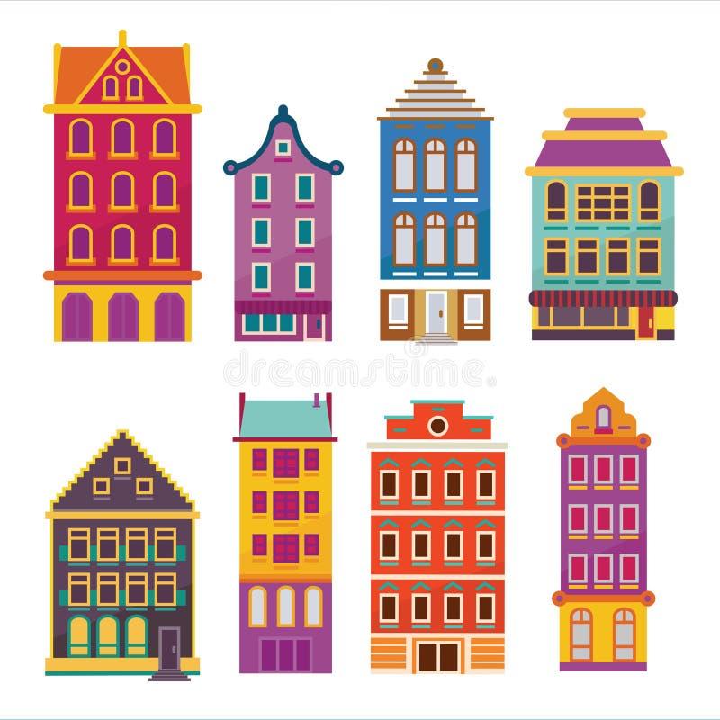 De leuke heldere reeks van het beeldverhaal vlakke huis Vectorbildingsvoorgevels eur royalty-vrije illustratie