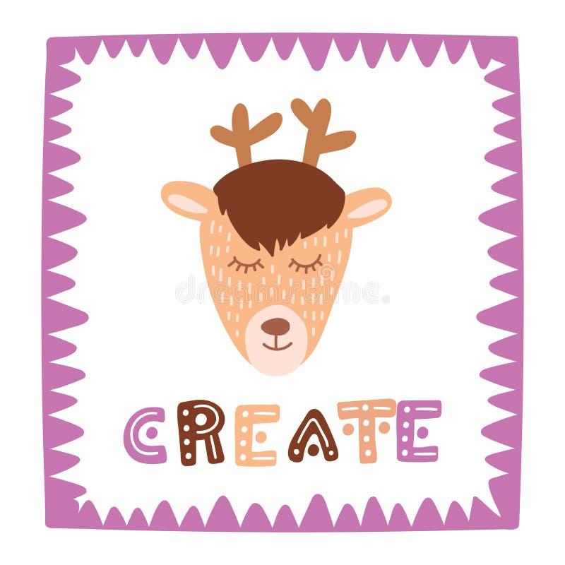 De leuke herten in zoet kader met hand het getrokken van letters voorzien leiden tot Kleurrijke geïsoleerde dierlijke vectorillus royalty-vrije illustratie
