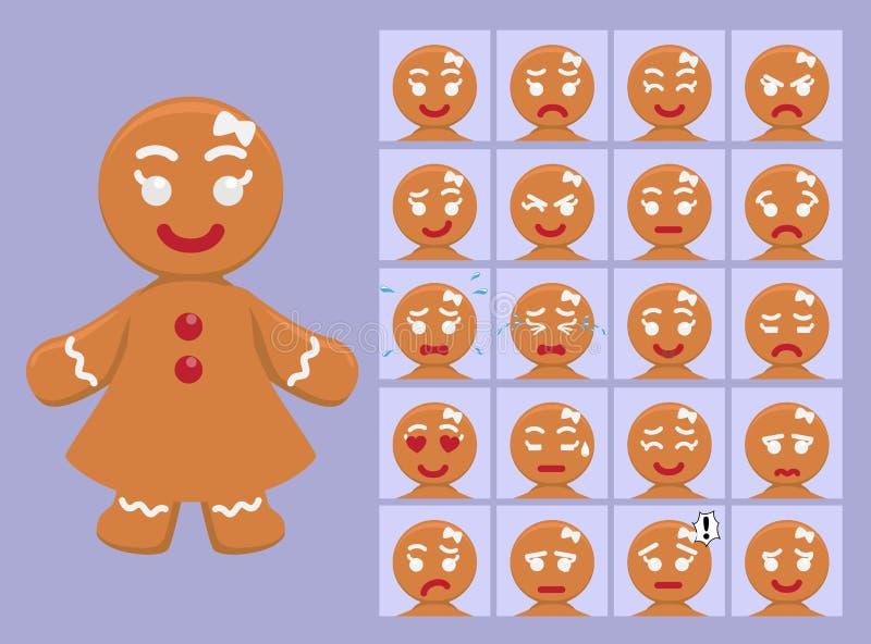 De leuke het Beeldverhaalemotie van het Peperkoekmeisje ziet Vectorillustratie onder ogen vector illustratie