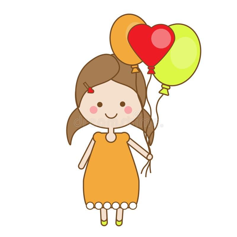 De leuke het glimlachen ballons van de meisjeholding Kinderen, het thema van de jonge geitjespartij royalty-vrije illustratie