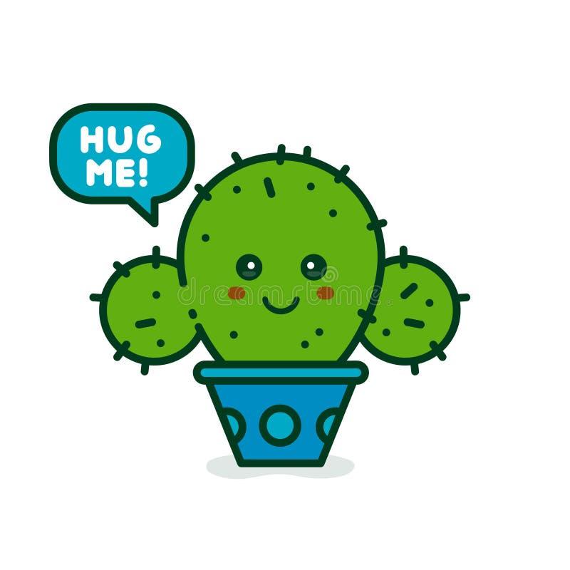 De leuke het glimlachen gelukkige cactus zegt me koester stock illustratie