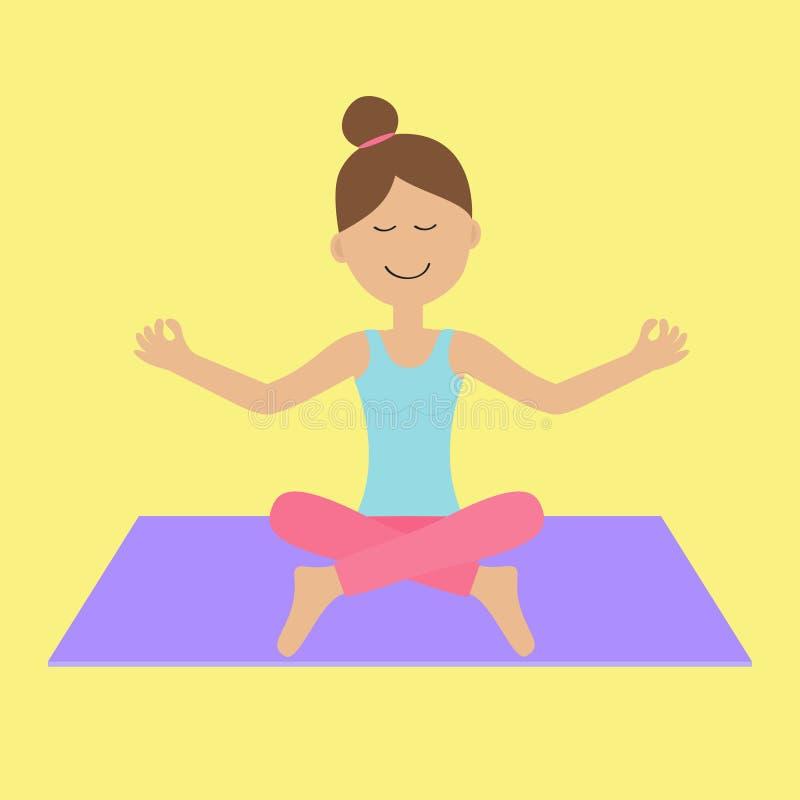 De leuke het karakterzitting van de beeldverhaalvrouw in lotusbloem stelt Jonge girl do yoga Gezonde Levensstijl Geschiktheidskle stock illustratie