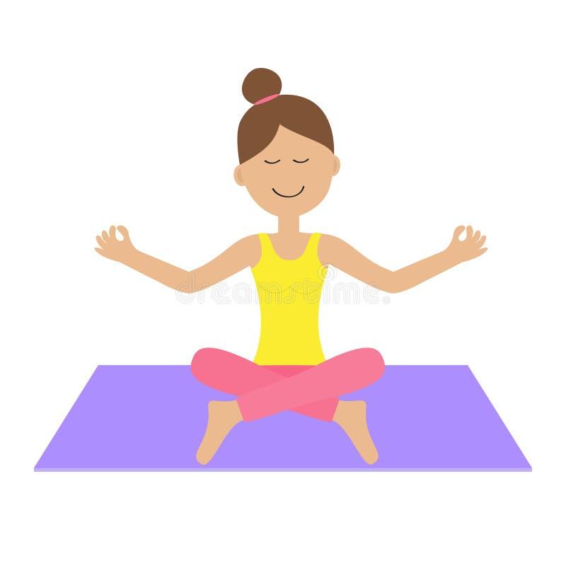 De leuke het karakterzitting van de beeldverhaalvrouw in lotusbloem stelt Jonge girl do yoga Gezonde Levensstijl Geschiktheidskle vector illustratie