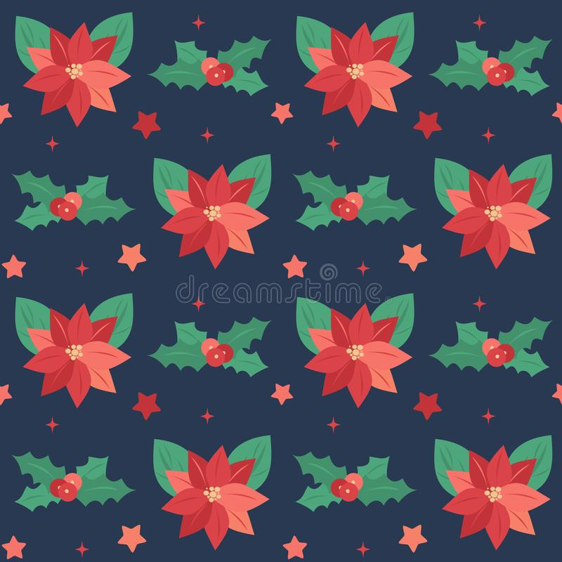 De leuke het patroon van vakantiekerstmis naadloze vectorillustratie als achtergrond met poinsettia bloeit, hulst en sterren stock illustratie