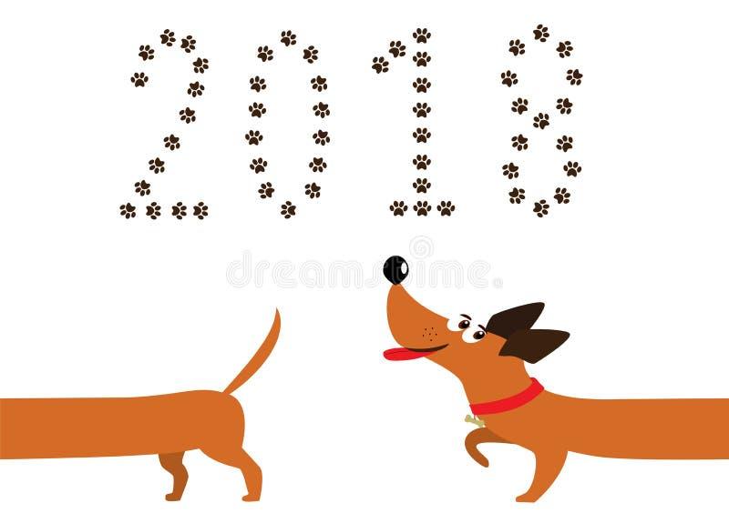 De leuke hond van de beeldverhaaltekkel na staart en nummer 2018 vector illustratie