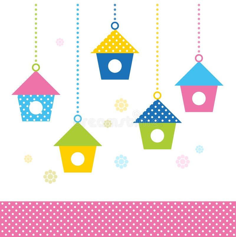 De leuke huizen van de de lente kleurrijke Vogel royalty-vrije illustratie