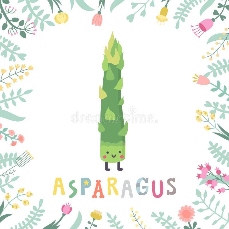 De leuke illustratie van de beeldverhaalasperge met bloemen & het van letters voorzien royalty-vrije illustratie
