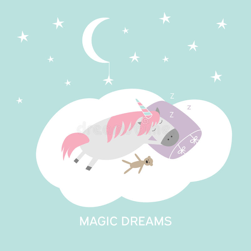 De leuke illustratie van de beeldverhaalhand getrokken slaapeenhoorn Vector magische dromenkaart royalty-vrije illustratie