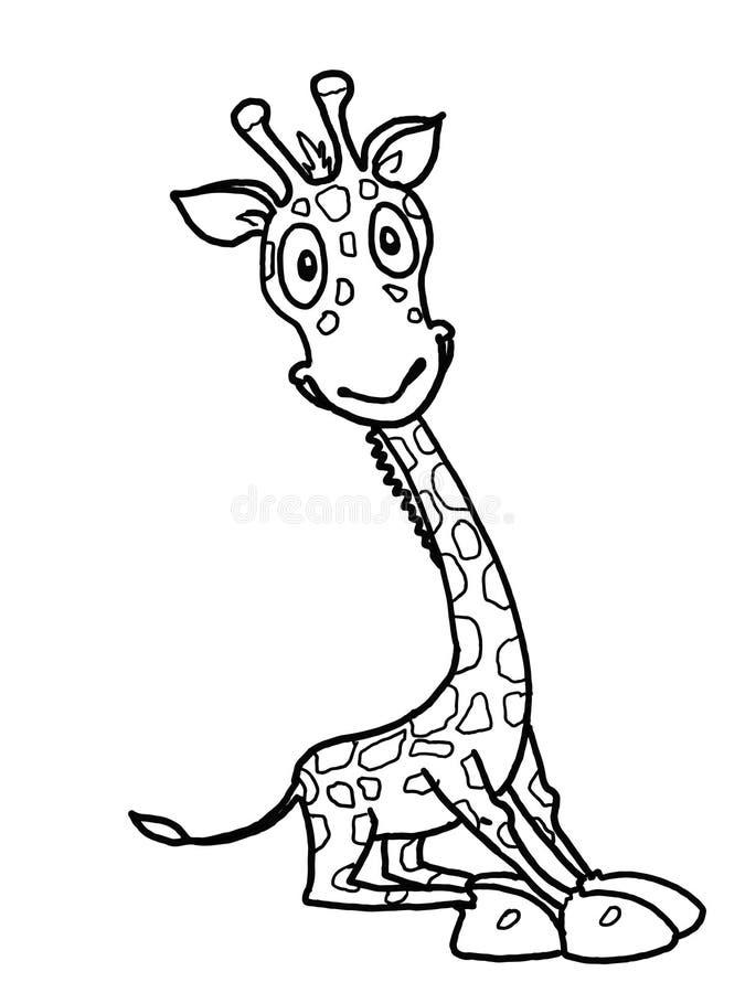 De leuke illustratie van de het beeldverhaaltekening van de girafillustratie stock illustratie
