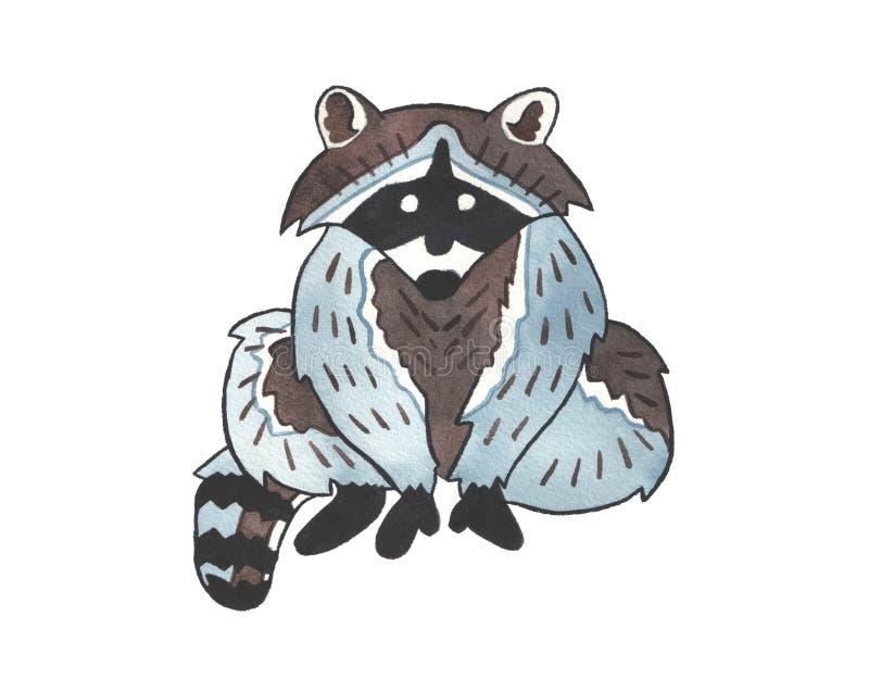 De leuke illustratie van de waterverfwasbeer stock illustratie