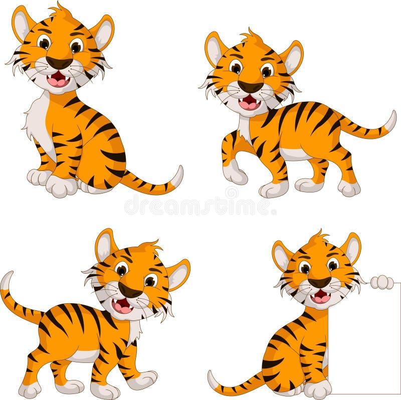 De leuke inzameling van het tijgerbeeldverhaal stock illustratie