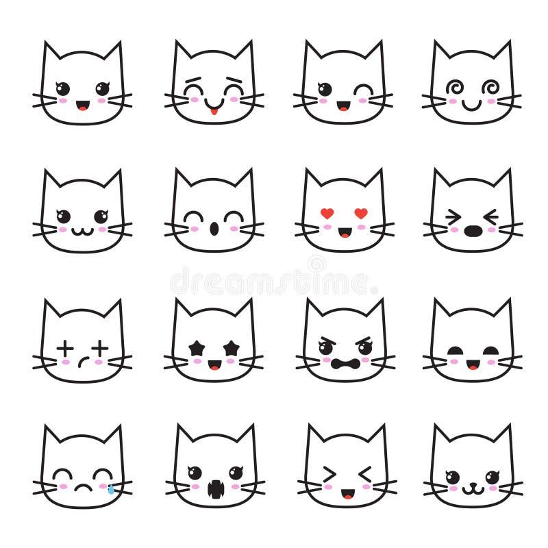 De leuke inzameling van katjeskawaii emoticon Grappige witte vectoravatars van kattenemoji stock illustratie