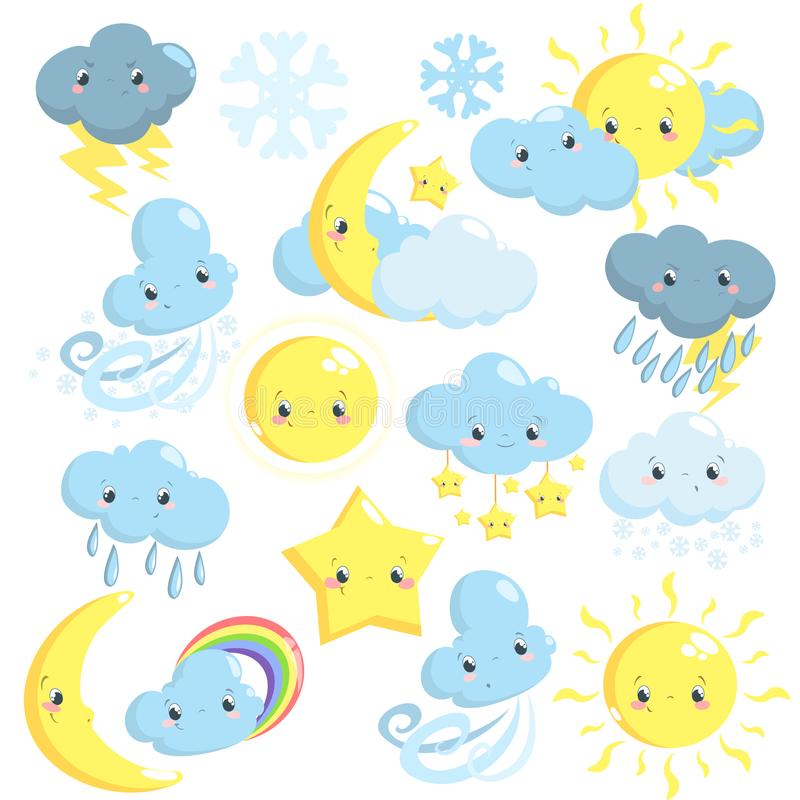 De leuke inzameling van weerpictogrammen met zon, maan, wolken, ster, sneeuwvlokken, regen vector illustratie