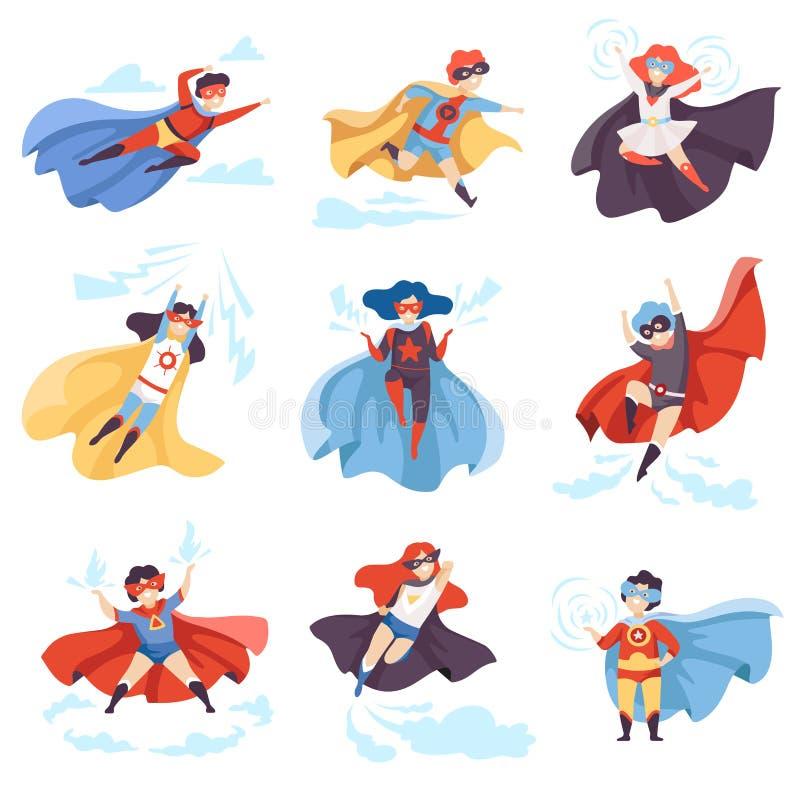 De leuke Jonge geitjes die Superhero-Geplaatste Kostuums, Super Kinderenkarakters in Maskers en Kaap in Verschillend dragen stell stock illustratie