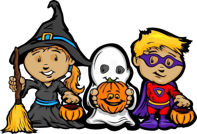 De leuke Jonge geitjes van Halloween in Truc of behandelen Kostuums royalty-vrije illustratie