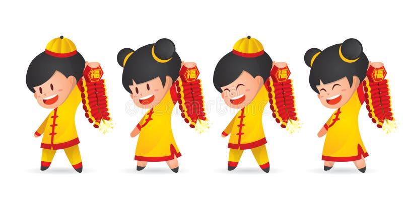 De leuke jongen en het meisje die van het beeldverhaal Chinese Nieuwjaar pret met voetzoeker hebben die, op wit wordt geïsoleerd vector illustratie