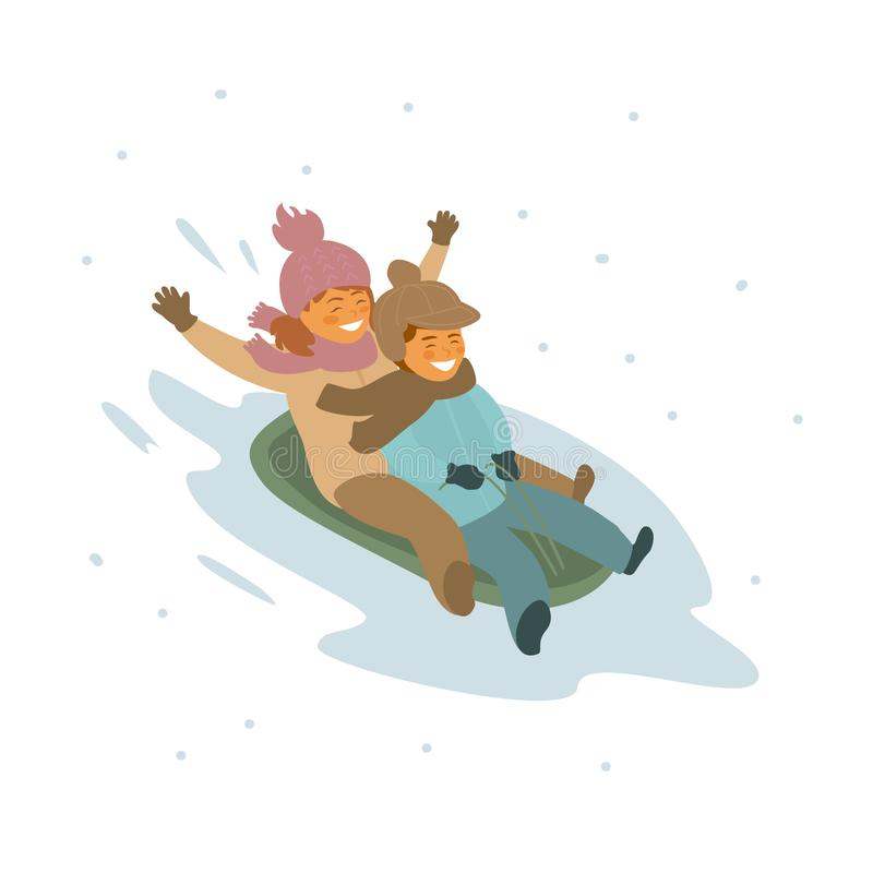 De leuke jongen en meisjeskinderenwinter die samen sledding royalty-vrije illustratie