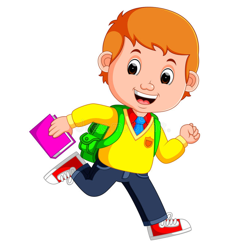 De leuke jongen gaat naar schoolbeeldverhaal royalty-vrije illustratie