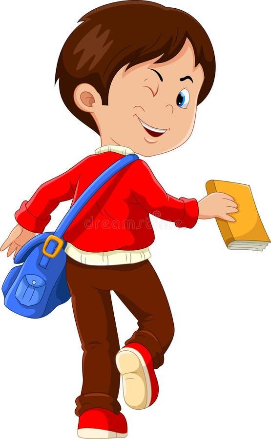 De leuke jongen met een blauwe zak en een boek in zijn handen gaan naar school, achtermening vector illustratie