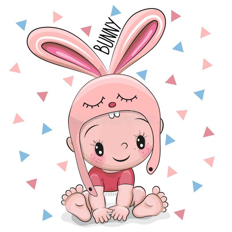 De leuke jongen van de Beeldverhaalbaby in een Konijntjeshoed stock illustratie