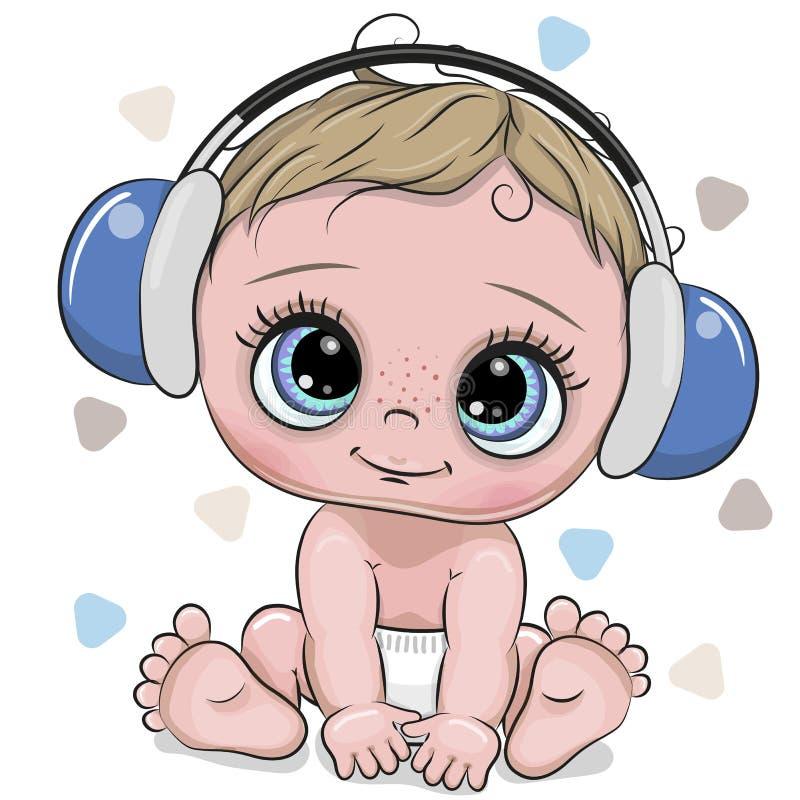 De leuke jongen van de beeldverhaalbaby met hoofdtelefoons op een witte achtergrond royalty-vrije illustratie