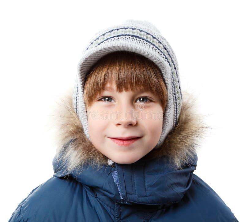 De leuke jongen van de winterkerstmis over wit stock afbeeldingen