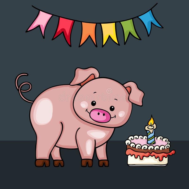 De leuke kaart van de varkens Gelukkige Verjaardag stock illustratie