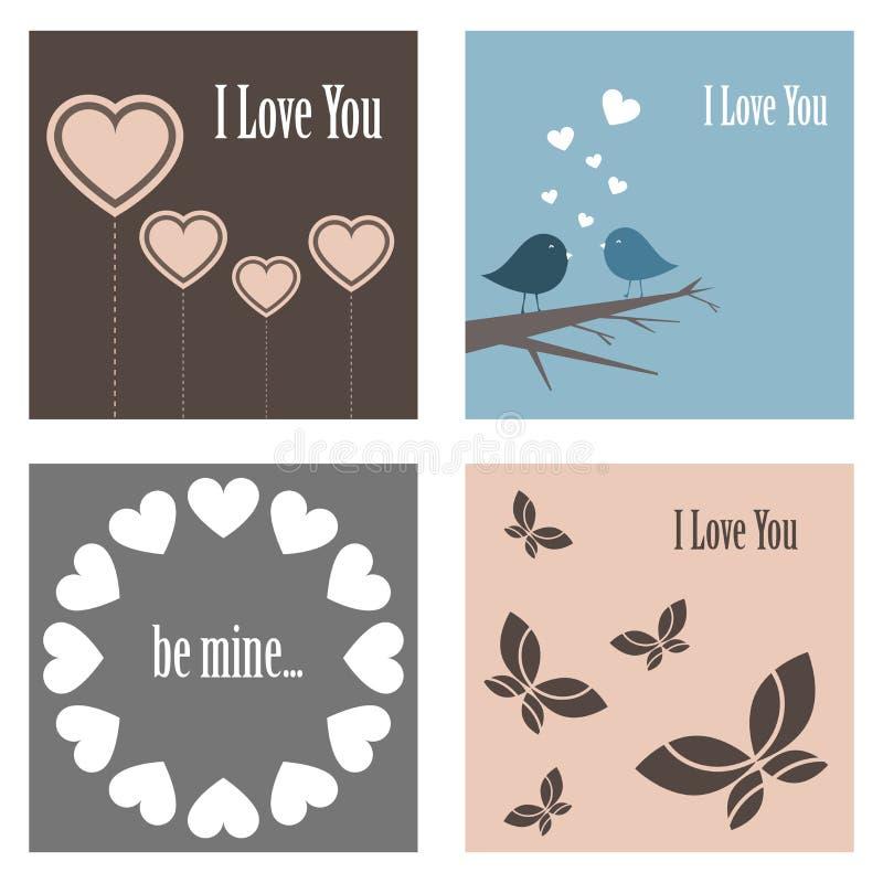 De leuke kaarten van de valentijnskaart royalty-vrije illustratie