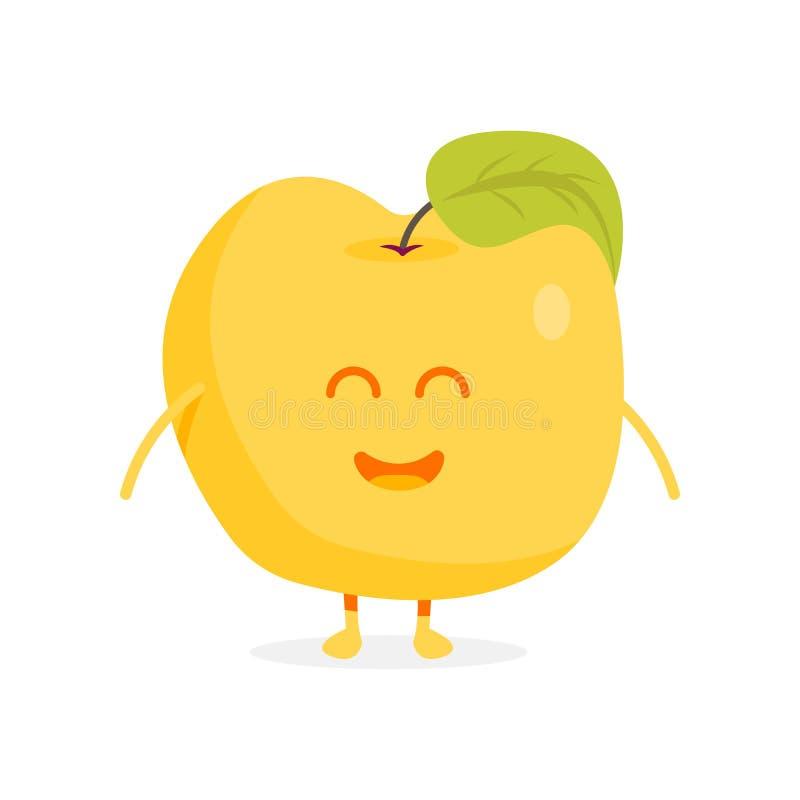 De leuke karakters van het appelfruit met gezichten en handenillustratie royalty-vrije illustratie