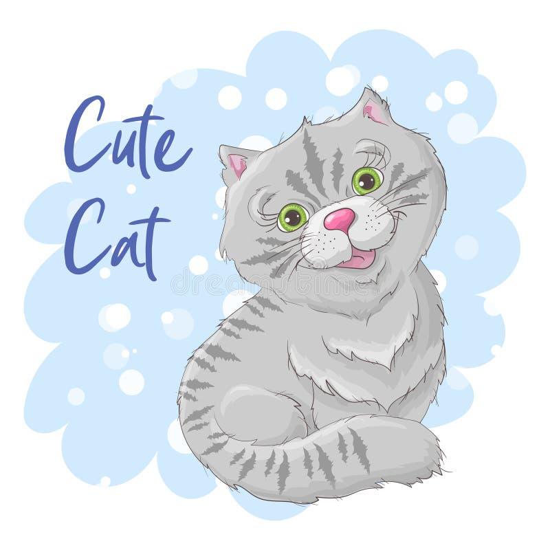 De leuke kat van de illustratieprentbriefkaar Druk op kleren en kinderens ruimte royalty-vrije illustratie
